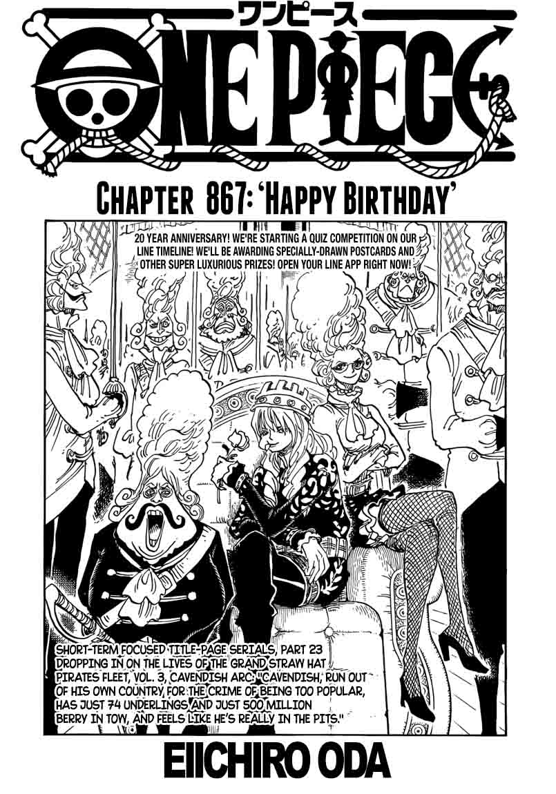 One Piece Chapter 867 Page 1